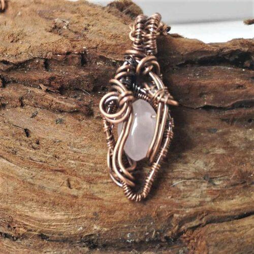 wire wrapped Rose Quartz pendant mini