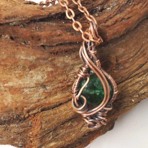 wire wrapped green quartz pendant