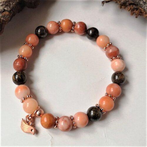 Peach Aventurine bracelet with Bronzite