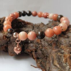 Peach Aventurine bracelet heart charm