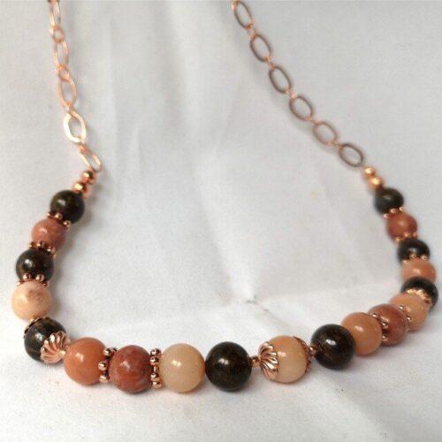 Peach Aventurine bronzite necklace