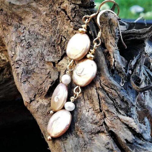 coffee pearl earrings