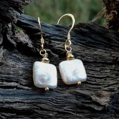 white square pearl earrings