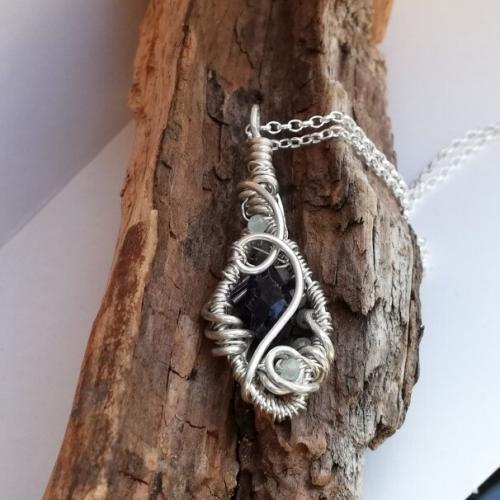 Amethyst Jadeite Sterling Silver wire wrapped pendant back
