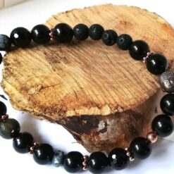 essential oil aromatherapy Bracelet, black,jet obsidian, grounding protection