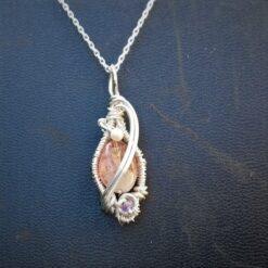 Sunstone pearl Tanzanite wire wrapped pendant sterling silver