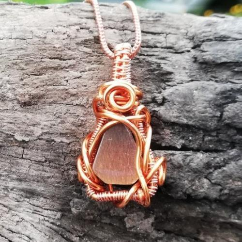 Golden Moonstone wire wrapped pendant