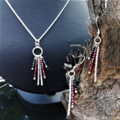necklace and earring set in Sterling Silver, made with topaz garnet and spinel in an art deco style