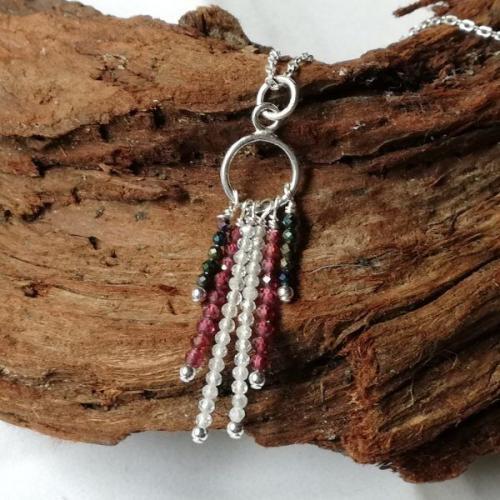 Topaz Garnet Spinel Sterling Silver tassle drop necklace
