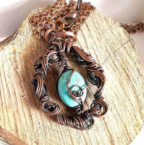 Blue Skies pendant, wire wrapped pendant with blue gemstone