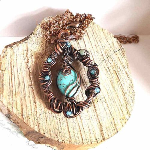 blue howlite blue apatite wire wrapped pendant necklace