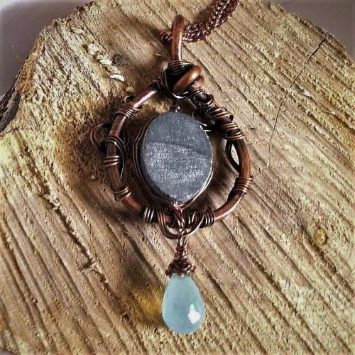wire wrapped grey drusy pendant necklace