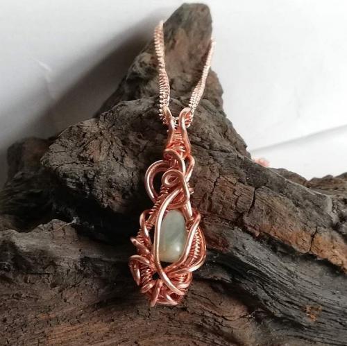 Amazonite Pendant rose gold necklace