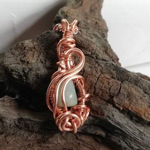 Amazonite pendant necklace rose gold