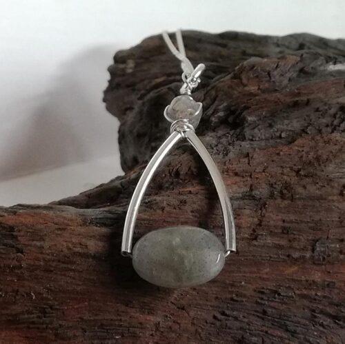 labradorite pendant necklace, sterling silver stirrup