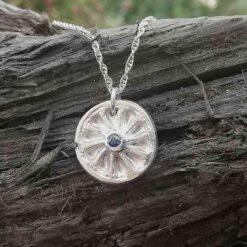 fine silver wheel necklace