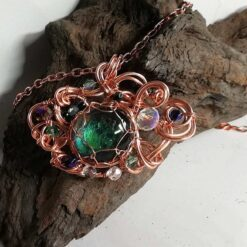 Goddess pendant blue green with rose gold wire